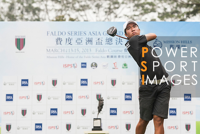 SHENZHEN, CHINA - MARCH 13: Taiki Sakurai of Japan tees off on the first tee during day one of the Faldo Series Asia Grand Final on March 13th, 2013 in Shenzhen, China. Photo by Xaume Olleros / The Power of Sport Images