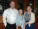 Charlotte Dyas who was confirmd in St Michael's church Clogherhead pictured with parents Desmond and Annmarie. Photo:Colin Bell/pressphotos.ie