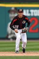 Rochester Red Wings shortstop Doug Bernier (17) during a game against the Louisville Bats on May 4, 2014 at Frontier Field in Rochester, New  York.  Rochester defeated Louisville 12-6.  (Mike Janes/Four Seam Images)