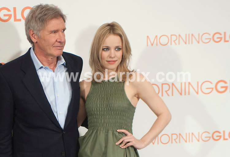 **ALL ROUND PICTURES FROM SOLARPIX.COM**                                             **WORLDWIDE SYNDICATION RIGHTS EXCEPT SPAIN & SOUTH AMERICA - NO SYNDICATION IN SPAIN OR SOUTH AMERICA**                                                                                  Caption: Madrid photocall for the new film release Morning Glory. Madrid, Spain. 13 January 2011                                                                              This pic: Harrison Ford and Rachel McAdams                                                                                             JOB REF: 12661 MPA       DATE: 13_01_2011                                                           **MUST CREDIT SOLARPIX.COM OR DOUBLE FEE WILL BE CHARGED**                                                                      **MUST AGREE FEE BEFORE ONLINE USAGE**                               **CALL US ON: +34 952 811 768 or LOW RATE FROM UK 0844 617 7637**