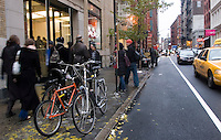 New York, NY - 2 Decemner 2007 - The new Prince Street shared lane with bicycle parking outside the Apple Store.