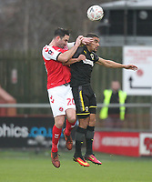 Fleetwood Town's Craig Morgan battles with AFC Wimbledon's Kwesi Appiah<br /> <br /> Photographer Mick Walker/CameraSport<br /> <br /> Emirates FA Cup Third Round - Fleetwood Town v AFC Wimbledon - Saturday 5th January 2019 - Highbury Stadium - Fleetwood<br />  <br /> World Copyright © 2019 CameraSport. All rights reserved. 43 Linden Ave. Countesthorpe. Leicester. England. LE8 5PG - Tel: +44 (0) 116 277 4147 - admin@camerasport.com - www.camerasport.com
