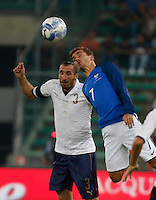 Giorgio Chiellini and Antoine Griezmann during the  friendly  soccer match,between Italy  and  France   at  the San  Nicola   stadium in Bari Italy , September 01, 2016<br /> <br /> amichevole di calcio tra le nazionali di Italia e Francia