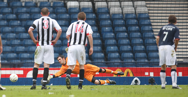 Scott Arfield slots Falkirk's penalty past Paul Gallacher