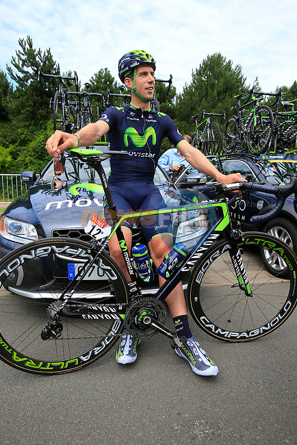 Imanol Erviti Ollo (ESP) Movistar Team in Le Touquet for the start of Stage 4 of the 2014 Tour de France running 163.5km from Le Touquet to Lille. 8th July 2014.<br /> Picture: Eoin Clarke www.newsfile.ie