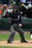 April 11th 2008:  Home plate umpire Jason Bradley during a game at Frontier Field in Rochester, NY.  Photo by:  Mike Janes/Four Seam Images