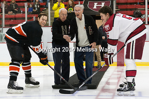 Jack Berger (Princeton - 9), Sid Greeley (Harvard '47), Richard Greeley (Harvard '49), Dan Ford (Harvard - 5) - The Harvard University Crimson defeated the Princeton University Tigers 3-2 on Friday, January 31, 2014, at the Bright-Landry Hockey Center in Cambridge, Massachusetts.