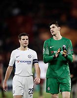 Football Soccer: UEFA Champions League AS Roma vs Chelsea Stadio Olimpico Rome, Italy, October 31, 2017. <br /> Chelsea's Cesar Azpillicueta (l) and Thibaut Courtois (r) greet Chelsea's supporters after loosing 3-0 the Uefa Champions League football soccer match between AS Roma and Chelsea at Rome's Olympic stadium, October 31, 2017.<br /> UPDATE IMAGES PRESS/Isabella Bonotto