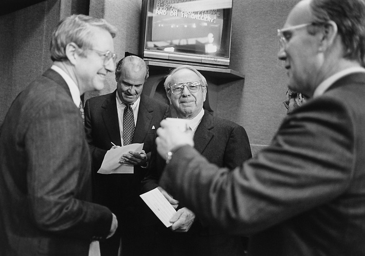 Rep. Sherrod Brown, D-Ohio, Sen. Fred Thompson, R-Tenn., Sen. Lauch Faircloth, R-N.C., and Sen. Larry Craig. R-Idaho before a press conference on term limits on Jan. 23, 1995. (Photo by Laura Patterson/CQ Roll Call)