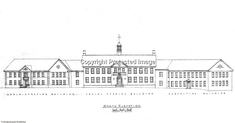 Pittsburgh PA:  An Ingham, Boyd and Pratt drawing of the front view of the new Administration, Social Studies and Humanities buildings on the Pennsylvania College for Women's campus.  Ingham, Boyd and Pratt Architect's various designs were submitted from 1948 through 1952 with construction starting in 1953. Pennsylvania College for Women was renamed Chatham College in 1955.