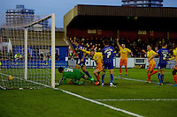 Jason McCarthy of Wycombe Wanderers scores the opening goal during the Sky Bet League 2 match between AFC Wimbledon and Wycombe Wanderers at the Cherry Red Records Stadium, Kingston, England on 21 November 2015. Photo by Alan  Stanford/PRiME.
