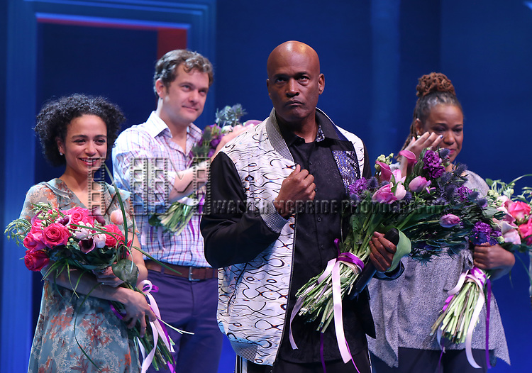 Lauren Ridloff, Joshua Jackson, Kecia Lewis and Kenny Leon during the Broadway opening night performance Curtain Call for 'Children of a Lesser God' at Studio 54 Theatre on April 11, 2018 in New York City.