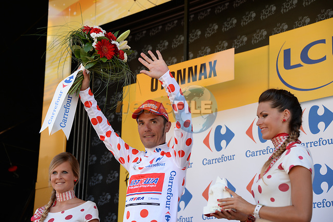 Joaquim Rodriguez (ESP) Katusha retains the climbers Polka Dot Jersey at the end of Stage 11 of the 2014 Tour de France running 187.5km from Besancon to Oyonnax. 16th July 2014.<br /> Photo ASO/X.Bourgois/www.newsfile.ie