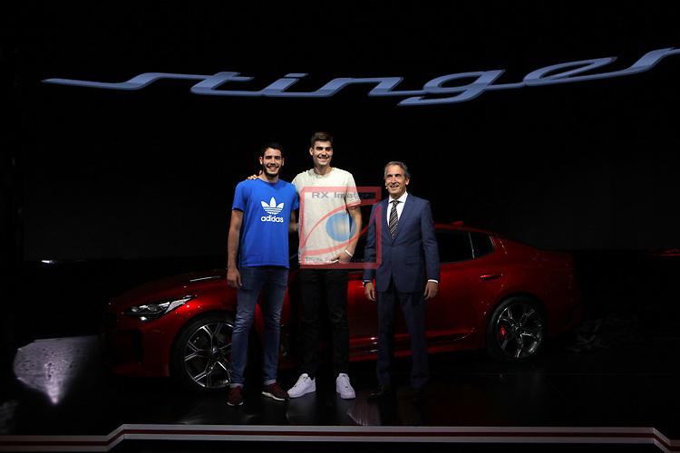 Automobile Barcelona 2017.<br /> Stand KIA. Presentacion Stinger.<br /> Alex Abrines, Juancho Hernangomez &amp; Emilio Herrera.