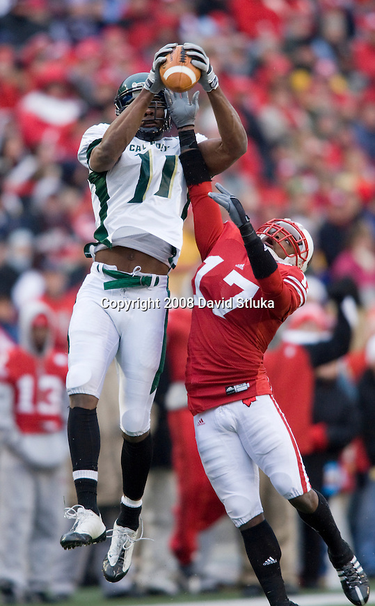 MADISON, WI - NOVEMBER 22: Defensive back Allen Langford #17 of the Wisconsin Badgers breaks up a pass for wide receiver Ramses Barden #11 of the Cal Poly Mustangs at Camp Randall Stadium on November 22, 2008 in Madison, Wisconsin. Wisconsin beat Cal Poly 36-35 in overtime. (Photo by David Stluka)