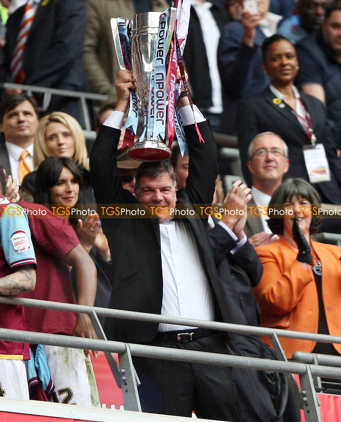 West Ham manager Sam Allardyce lifts the trophy - Blackpool vs West Ham United , npower Championship Play-off Final at Wembley Stadium, London - 19/05/12 - MANDATORY CREDIT: Rob Newell/TGSPHOTO - Self billing applies where appropriate - 0845 094 6026 - contact@tgsphoto.co.uk - NO UNPAID USE..