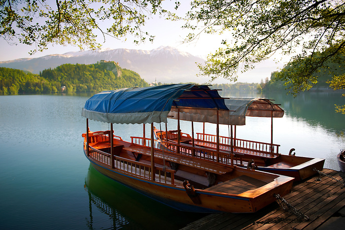 Lake Bled flat bottomed barge called a Pletna.  . Lake Bled Slovenia.