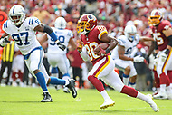 Landover, MD - September 16, 2018: Washington Redskins wide receiver Jamison Crowder (80) runs the ball during the  game between Indianapolis Colts and Washington Redskins at FedEx Field in Landover, MD.   (Photo by Elliott Brown/Media Images International)
