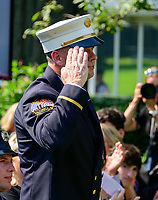 Former fire chief of the Midtown Manhattan firehouse Chief John Joyce salutes United States President Donald J. Trump as he was introduced prior to signing H.R. 1327, an act to permanently authorize the September 11th victim compensation fund, in the Rose Garden of the White House in Washington, DC on Monday, July 29, 2019. <br /> Credit: Ron Sachs / Pool via CNP/AdMedia