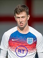 Jensen Weir (Wigan Athletic) of England U18 pre match during the Under 18 International friendly match between England U18 & Brazil U18 at Hednesford Town Football Club, Keys Park, Cannock on 8 September 2019. Photo by Andy Rowland.