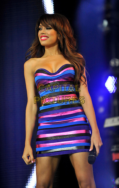 Sugababes - Jade Ewen.Sainsburys Super Saturday at Clapham Common, London, England..September 10th 2011.stage concert live gig performance music half length blue pink strapless stripe dress  .CAP/ROS.©Steve Ross/Capital Pictures
