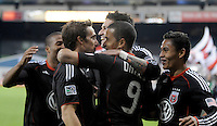 DC United forward Charlie Davies (9) celebrates with team mates his score in the 52th minute of the game.  DC United defeated The Seattle Sounders 2-1 at  RFK Stadium, Wednesday May 4, 2011.
