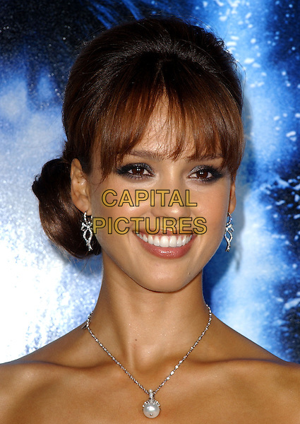 JESSICA ALBA.Premiere of Into The Blue held at The Mann's Village Theatre in Westwood, California .September 21st, 2005.Ref: DVS.headshot portrait diamond earrings pearl necklace.www.capitalpictures.com.sales@capitalpictures.com.Supplied By Capital PIctures