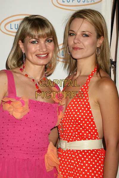 "RENA RIFEL & OLJA HRUSTIC .Lupus LA's ""Love, Light and Laughter"" Fundraiser 2007 at the Beverly Hills Hotel, Beverly Hills, California, USA..May 8th, 2007.half length pink dress red white cream belt polka dot halterneck .CAP/ADM/BP.©Byron Purvis/AdMedia/Capital Pictures"