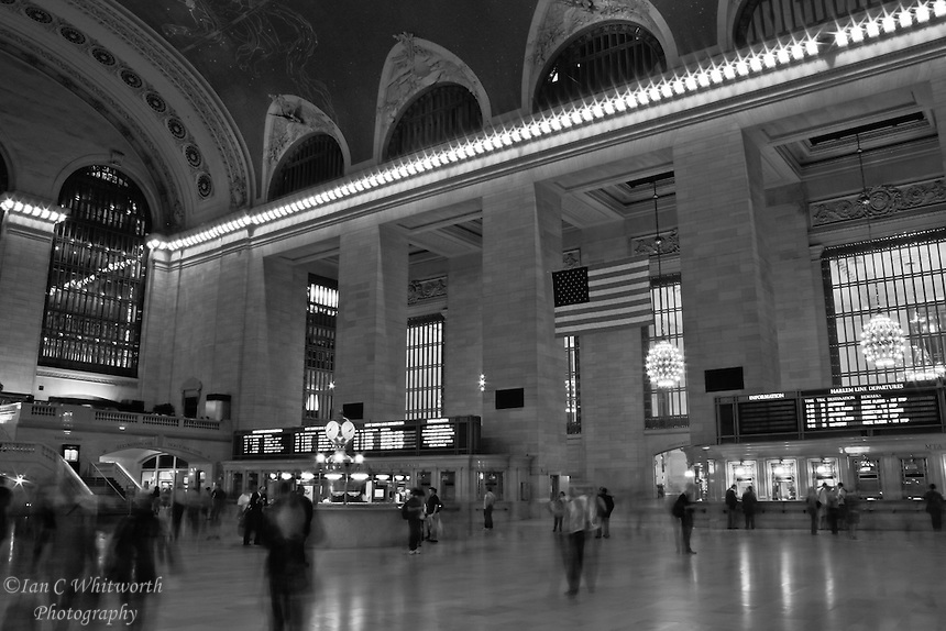 A back and white view inside the Grand Central Station in New York City