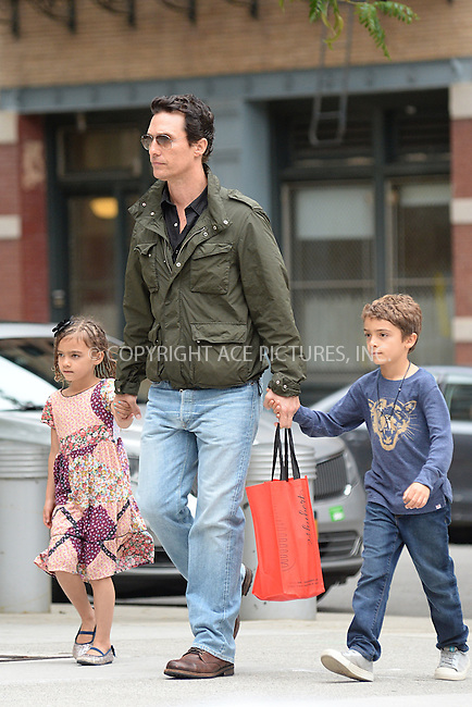 WWW.ACEPIXS.COM<br /> June 28, 2016 New York City<br /> <br /> Matthew McConaughey seen walking with his children in Tribeca in New York City on June 28, 2016.<br /> <br /> Credit: Kristin Callahan/ACE Pictures<br /> <br /> tel: 646 769 0430<br /> Email: info@acepixs.com