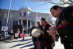 From left, Martin Cueva, Ocelotl Ortiz and Pete Casillas Jr. perform a Round Dance in front of the Legislative Building in Carson City, Nev., on Monday, Feb. 11, 2013. The Native American rally was held in support of a bill that would prevent hunting of black bears in Nevada. (AP Photo/Cathleen Allison)