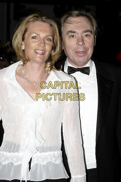 LADY & LORD ANDREW LLOYD-WEBBER.Woman In White Royal Gala Performance, Palace Theatre.September 13th, 2004.half length, bow tie, diamond necklace, white ruffled blouse.www.capitalpictures.com.sales@capitalpictures.com.© Capital Pictures.