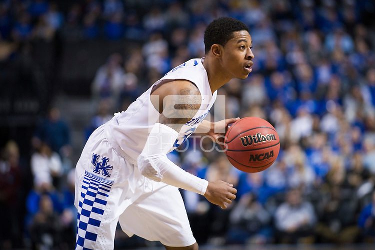 BROOKLYN, NY - Saturday December 19, 2015: Tyler Ulis (#3) of Kentucky dribbles against Ohio State as the two teams square off in the CBS Classic at Barclays Center in Brooklyn, NY.