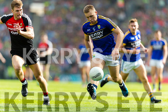 Peter Crowley Kerry in action against Conor O'Shea Mayo in the All Ireland Semi Final Replay in Croke Park on Saturday.