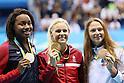 Simone Manuel (USA), Pernille Blume (DEN), Aliaksandra Herasimenia (BEL), <br /> AUGUST 13, 2016 - Swimming : <br /> Women's 50m Freestyle Medal Ceremony<br /> at Olympic Aquatics Stadium <br /> during the Rio 2016 Olympic Games in Rio de Janeiro, Brazil. <br /> (Photo by Koji Aoki/AFLO SPORT)
