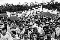 Lavradores fazem manifestação durante comício em São Geraldo do Araguaia com a presença de vários deputados federais e estaduais , entre eles o ex guerrilheiro José Genoino Neto, que volta a região  pela primeira vez  onze anos após seu final.<br /> Xambioá, Pará, Brasil<br /> Foto Paulo Santos/Interfoto<br /> 1983.