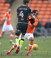 Blackpool's Nathan Delfouneso battles with Bristol Rovers' Tom Lockyer<br /> <br /> Photographer Mick Walker/CameraSport<br /> <br /> The EFL Sky Bet League One - Blackpool v Bristol Rovers - Saturday 13th January 2018 - Bloomfield Road - Blackpool<br /> <br /> World Copyright &copy; 2018 CameraSport. All rights reserved. 43 Linden Ave. Countesthorpe. Leicester. England. LE8 5PG - Tel: +44 (0) 116 277 4147 - admin@camerasport.com - www.camerasport.com