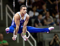 Danell Leyva of Hilton HHonors competes on rings during the 2012 US Olympic Trials competition at HP Pavilion in San Jose, California on June 28th, 2012.