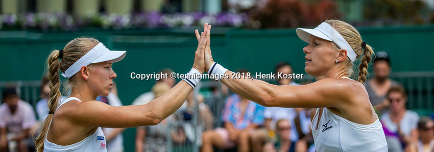 London, England, 7 th. July, 2018, Tennis,  Wimbledon, Womans doubles: Kiki Bertens (NED) and Johanna Larsson (SWE) (L)<br /> Photo: Henk Koster/tennisimages.com