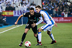 Lucas Vazquez (L) of Real Madrid battles for the ball with Gerard Gumbau Garriga of CD Leganes during the Copa del Rey 2017-18 match between CD Leganes and Real Madrid at Estadio Municipal Butarque on 18 January 2018 in Leganes, Spain. Photo by Diego Gonzalez / Power Sport Images