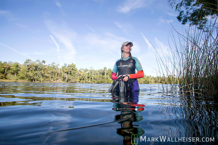 Florida State University professor and underwater archaeologist Jessi Halligan, 38, originally from Draper, South Dakota, in the Aucilla River near where her discovery was made.