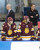 Brett Larson (Duluth - Assistant Coach), Mike Montgomery (Duluth - 24), Justin Faulk (Duluth - 25), Chris Garner (Duluth - Manager) - The University of Minnesota-Duluth Bulldogs defeated the Union College Dutchmen 2-0 in their NCAA East Regional Semi-Final on Friday, March 25, 2011, at Webster Bank Arena at Harbor Yard in Bridgeport, Connecticut.