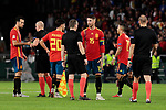 Spain's Sergio Ramos have words with referee Szymon Marciniak during UEFA Nations League 2019 match between Spain and England at Benito Villamarin stadium in Sevilla, Spain. October 15, 2018. (ALTERPHOTOS/A. Perez Meca)