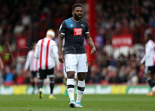 April 14th 2017,  Brent, London, England; Skybet Championship football, Brentford versus Derby County; Darren Bent of Derby County looks on