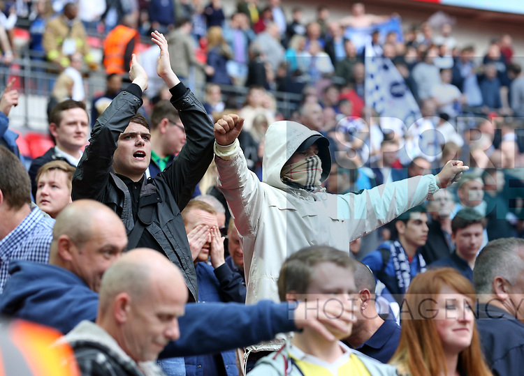 Millwall's fans celebrate at the final whistle during the League One Play-Off Final match at Wembley Stadium, London. Picture date: May 20th, 2017. Pic credit should read: David Klein/Sportimage