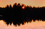 The sun sets over Day Lake in the Chequamegon National Forest.
