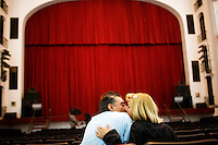 "Puebla, Mexico - DEC 4: At the Teatro Principal, which was built in the 18th Century, a young couple shares a kiss after watching a Mexican Beatles tribute band called ""Help!"" perform on December 4, 2008, in Puebla, Mexico."