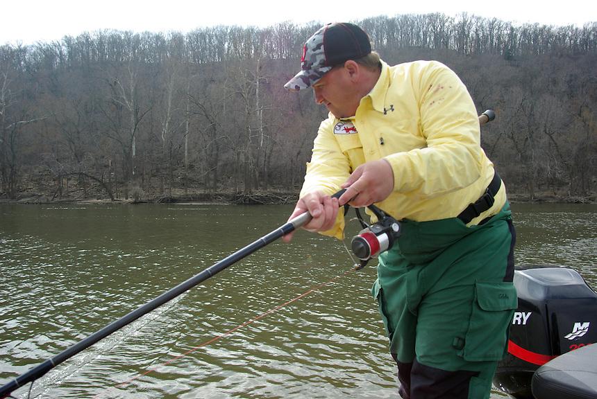 Fishing for paddlefish, Grand River, Oklahoma