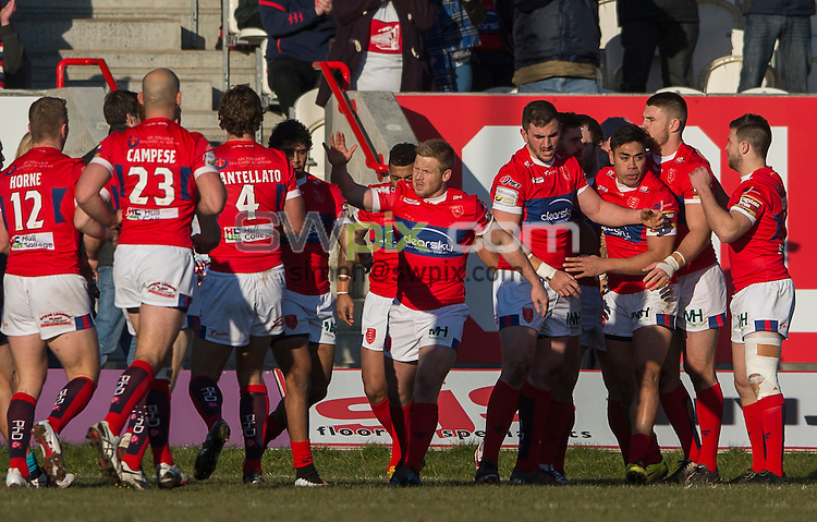 Picture by Allan McKenzie/SWpix.com - 08/02/2015 - Rugby League - First Utility Super League - Hull Kingston Rovers v Leeds Rhinos - KC Lightstream Stadium, Hull, England - Hull KR celebrate Albert Kelly's try.