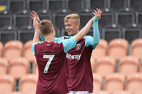 west hams reece hannam celebrates with dan kemp during Barnet vs West Ham United, Friendly Match Football at the Hive Stadium on 15th July 2017